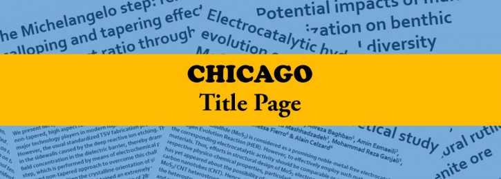 Chicago Style for Title Page