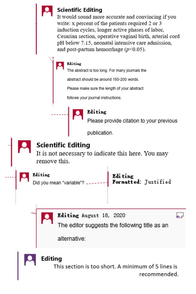 Editor's comment for proofreading articles