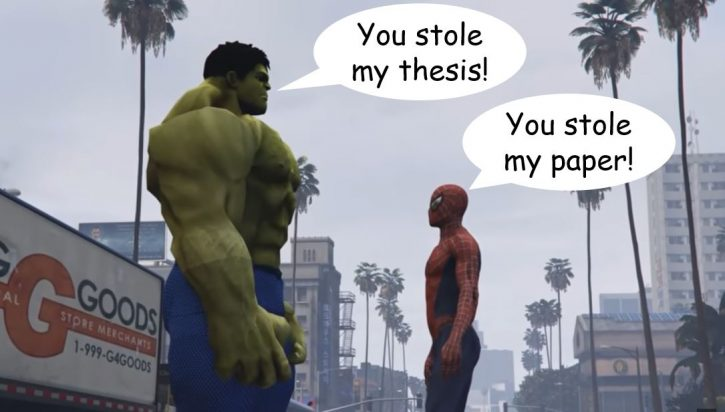 spiderman vs halk fighting over a thesis paper