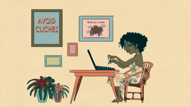 Cartoon of a woman typing