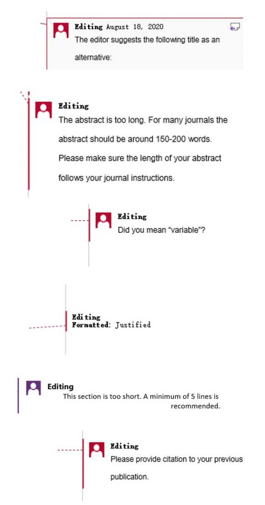 comments by thesis proofreader