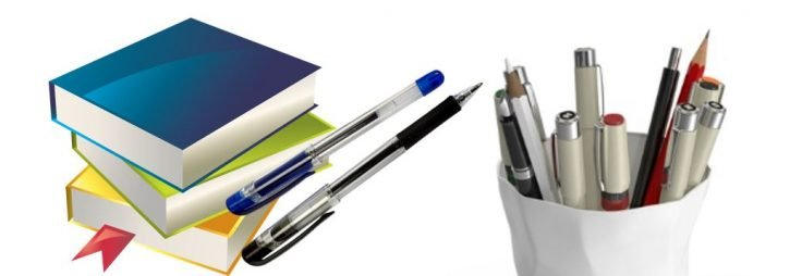 dissertations, books, and pens