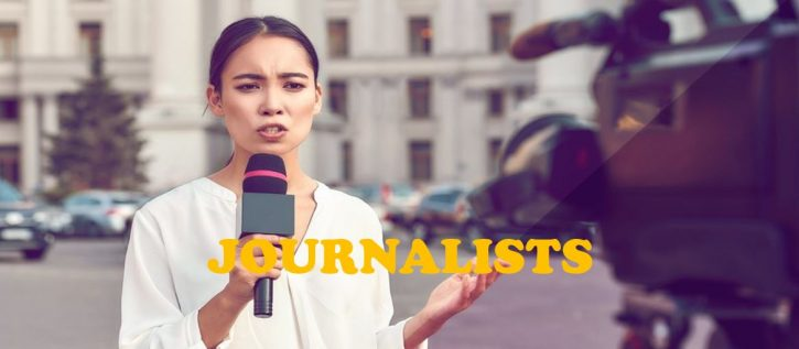 a JOURNALIST REPORTING ON STREET