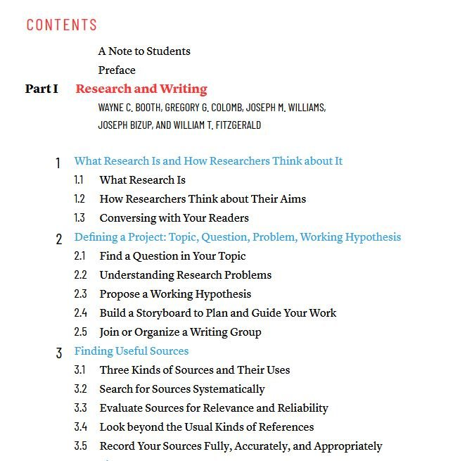 Chicago Table of Contents