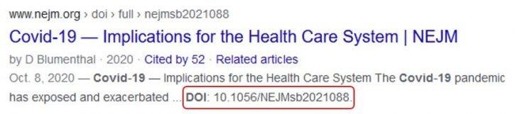 Displaying DOI by Google