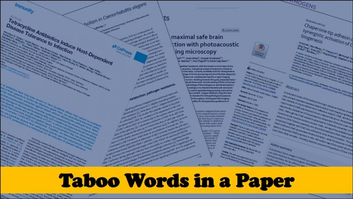 Taboo words in a research paper
