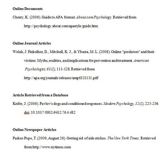 apa reference page