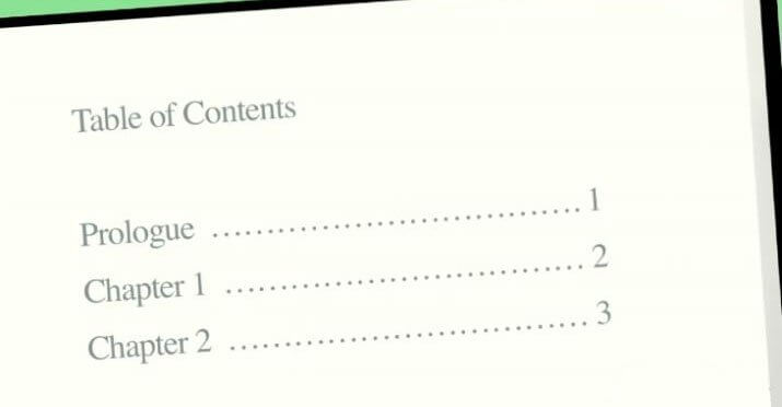 Table of contents in MLA format