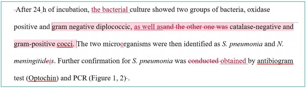 Scientific article proofreading and editing