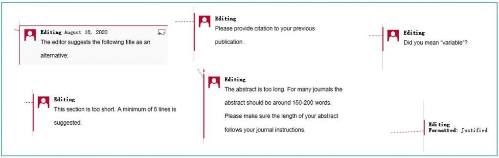 Manuscript editing comments and feedback