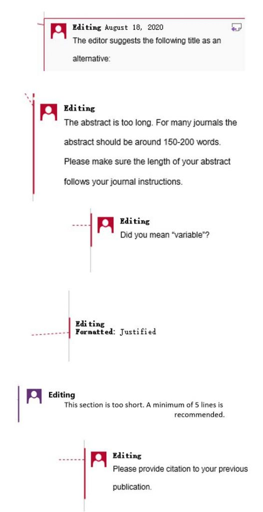 Scientific comments by English proofreader