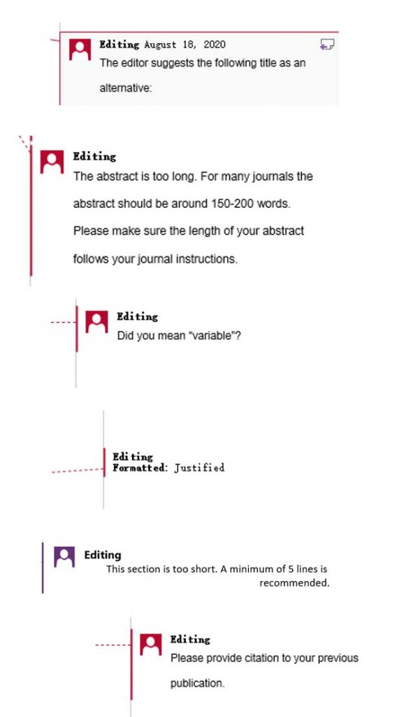 Comments for academic copyediting