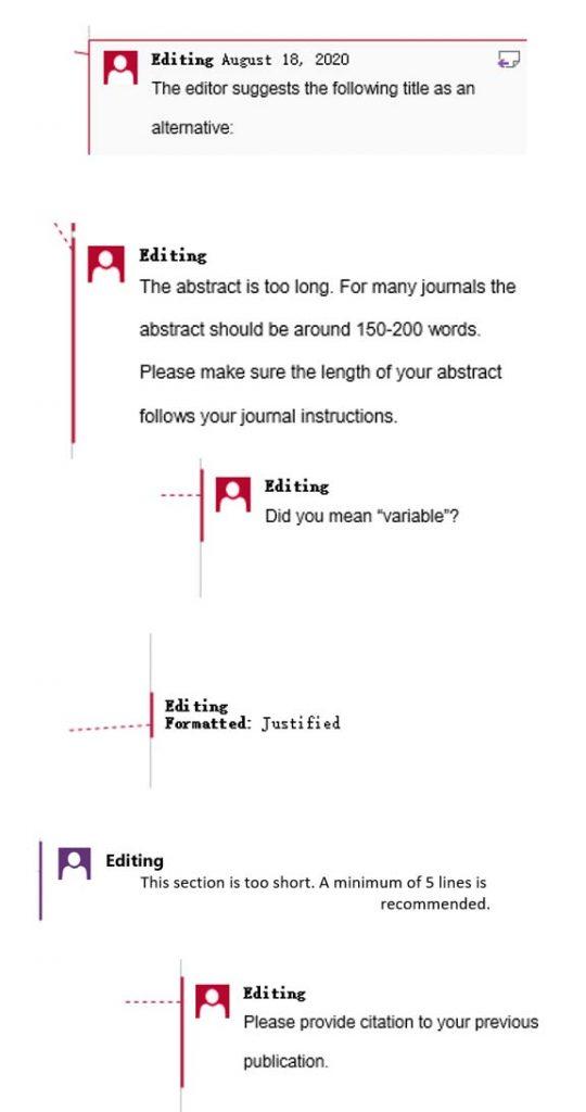 Comments for Scientific Manuscript Editing Service