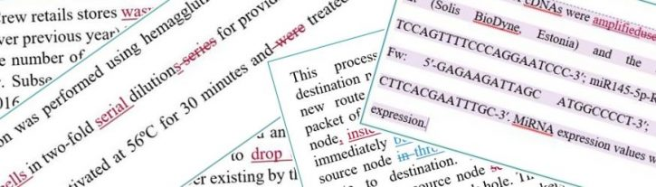 Snapshots of dissertation editing samples