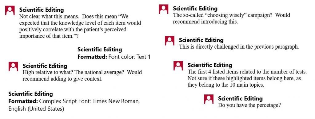 Snapshots of scientific comments